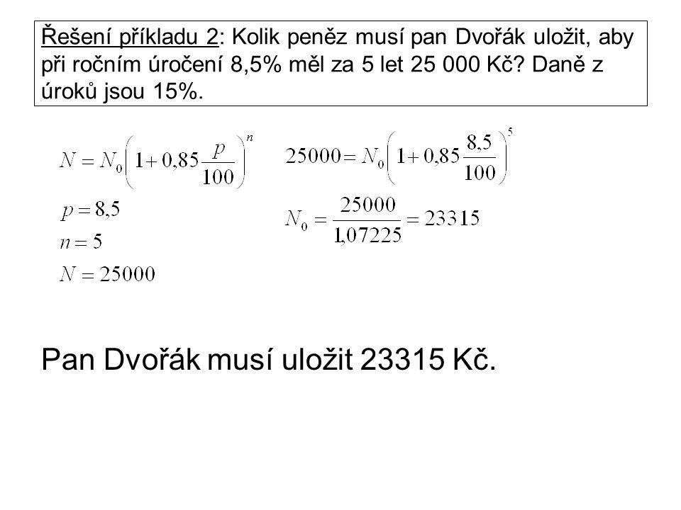 Řešení příkladu 2: Kolik peněz musí pan Dvořák uložit, aby při ročním úročení 8,5% měl za 5 let 25 000 Kč? Daně z úroků jsou 15%. Pan Dvořák musí ulož