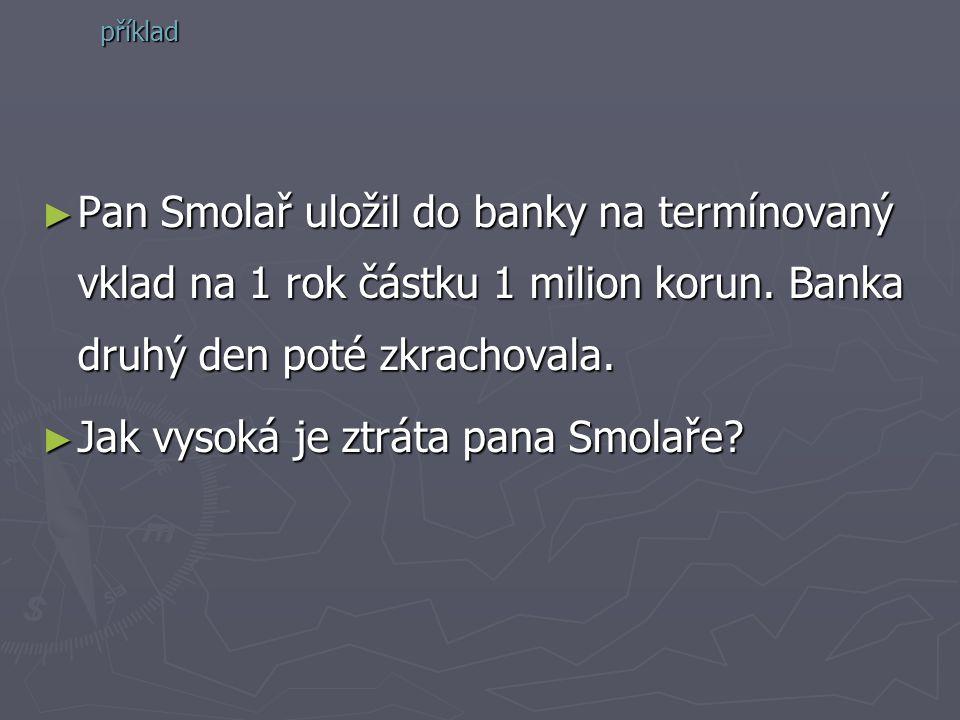 ►P►P►P►Pan Smolař uložil do banky na termínovaný vklad na 1 rok částku 1 milion korun. Banka druhý den poté zkrachovala. ►J►J►J►Jak vysoká je ztráta p
