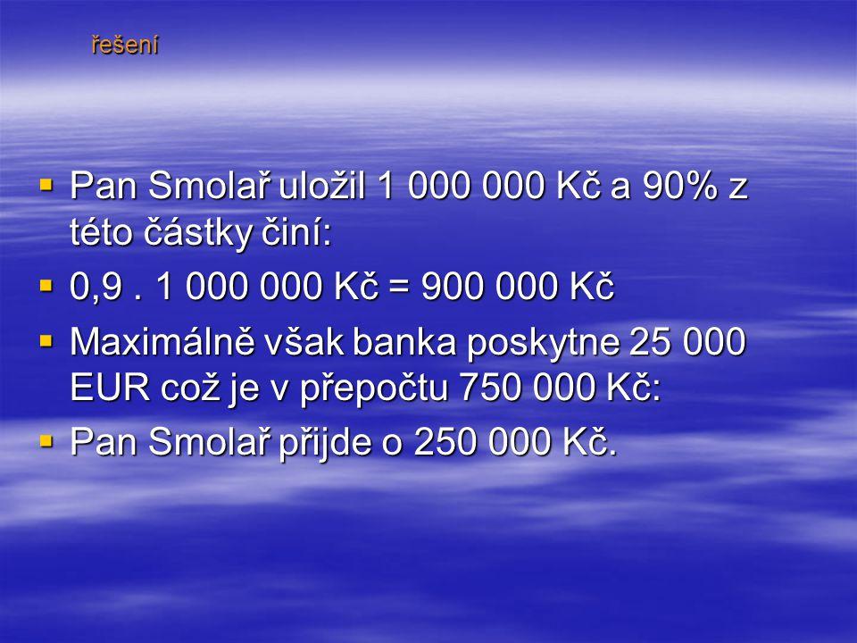 PPPPan Smolař uložil 1 000 000 Kč a 90% z této částky činí: 0000,9.