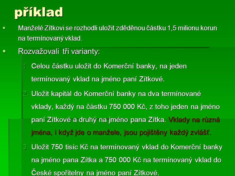  Manželé  Manželé Zítkovi se rozhodli uložit zděděnou částku 1,5 milionu korun na termínovaný vklad.