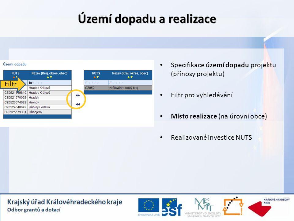Specifikace území dopadu projektu (přínosy projektu) Filtr pro vyhledávání Místo realizace (na úrovni obce) Realizované investice NUTS Území dopadu a realizace Filtr