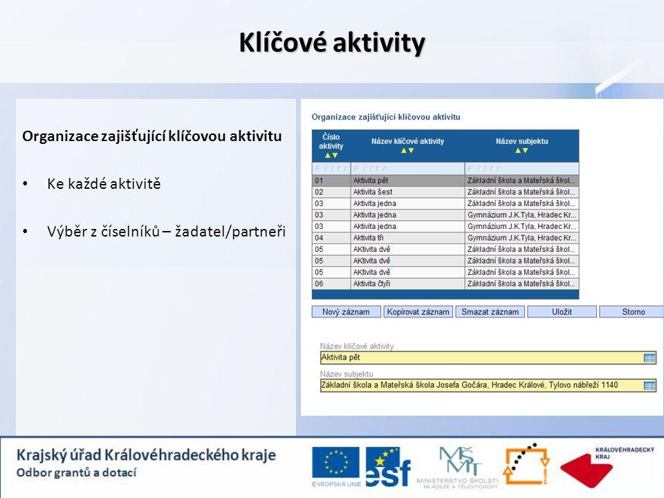 Klíčové aktivity Organizace zajišťující klíčovou aktivitu Ke každé aktivitě Výběr z číselníků – žadatel/partneři
