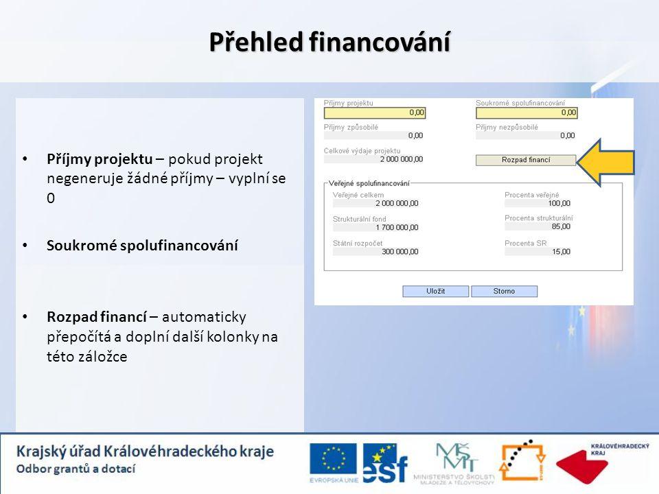 Přehled financování Příjmy projektu – pokud projekt negeneruje žádné příjmy – vyplní se 0 Soukromé spolufinancování Rozpad financí – automaticky přepo