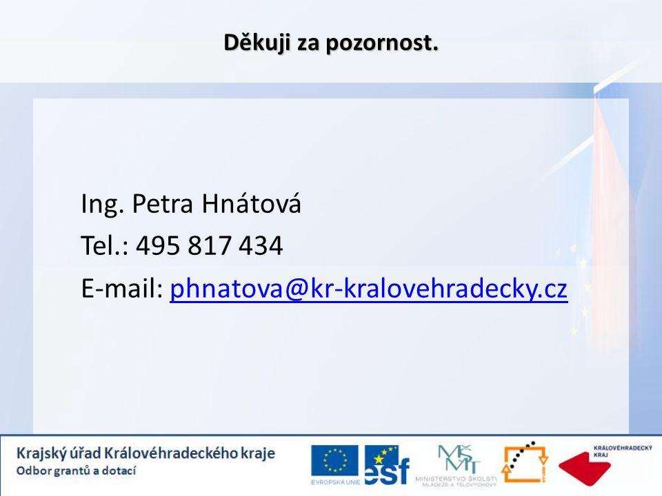 Děkuji za pozornost. Ing. Petra Hnátová Tel.: 495 817 434 E-mail: phnatova@kr-kralovehradecky.czphnatova@kr-kralovehradecky.cz
