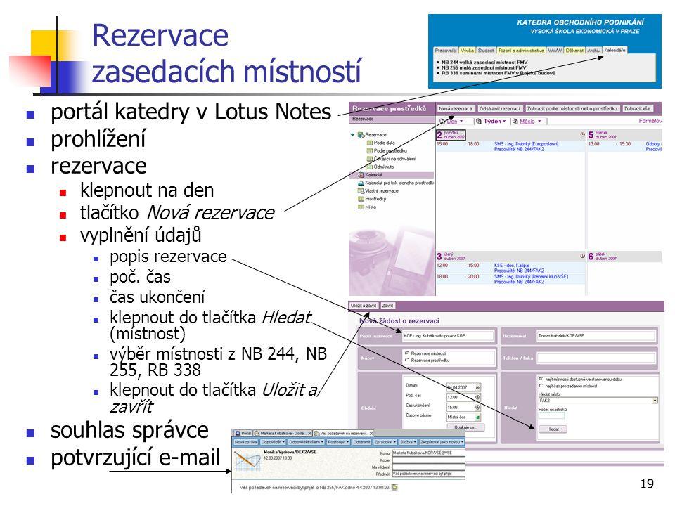 19 Rezervace zasedacích místností portál katedry v Lotus Notes prohlížení rezervace klepnout na den tlačítko Nová rezervace vyplnění údajů popis rezer