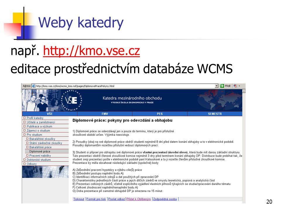 20 Weby katedry např. http://kmo.vse.czhttp://kmo.vse.cz editace prostřednictvím databáze WCMS