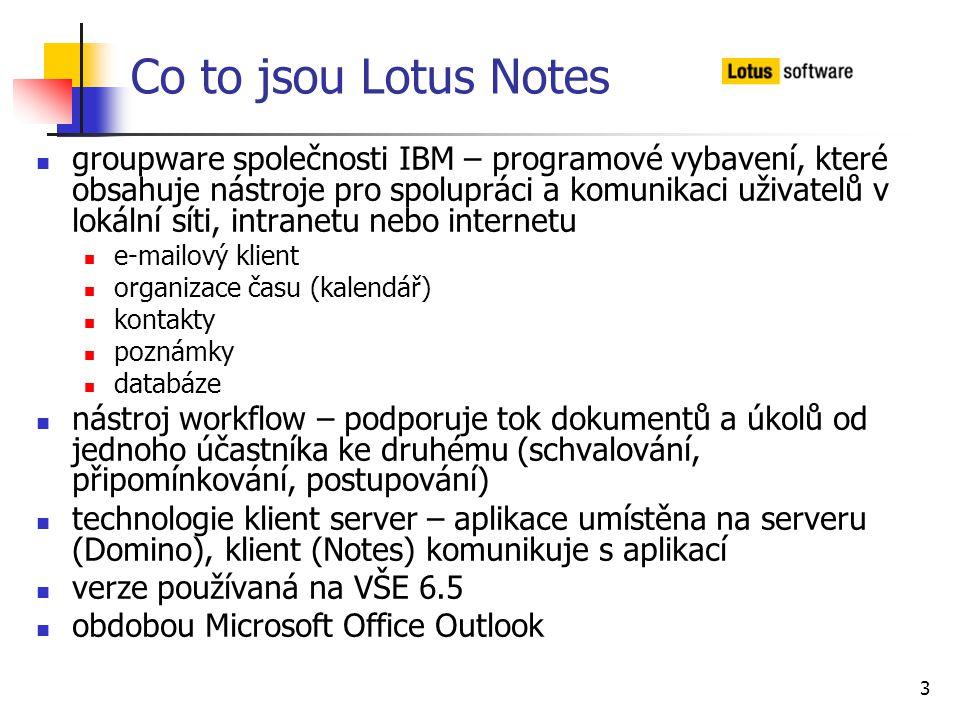 3 Co to jsou Lotus Notes groupware společnosti IBM – programové vybavení, které obsahuje nástroje pro spolupráci a komunikaci uživatelů v lokální síti
