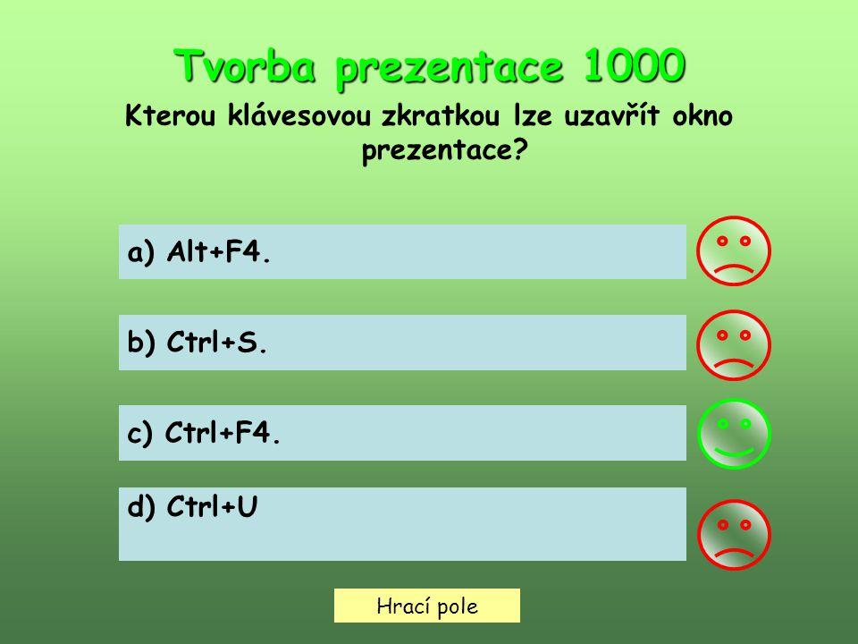 Hrací pole Tvorba prezentace 1000 Kterou klávesovou zkratkou lze uzavřít okno prezentace.
