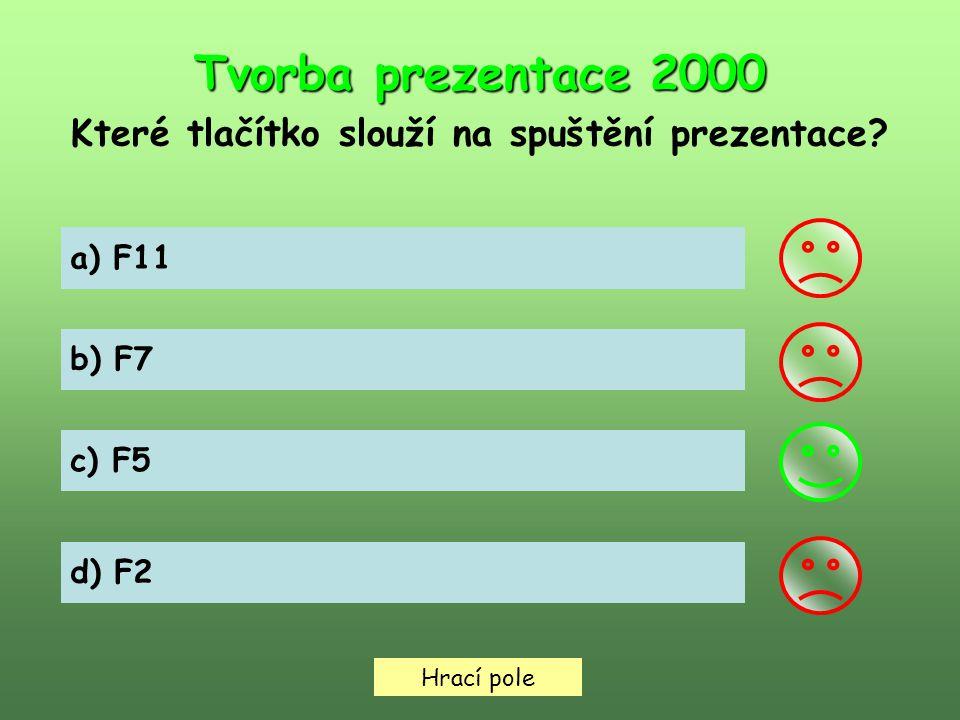 Hrací pole Tvorba prezentace 2000 Které tlačítko slouží na spuštění prezentace.