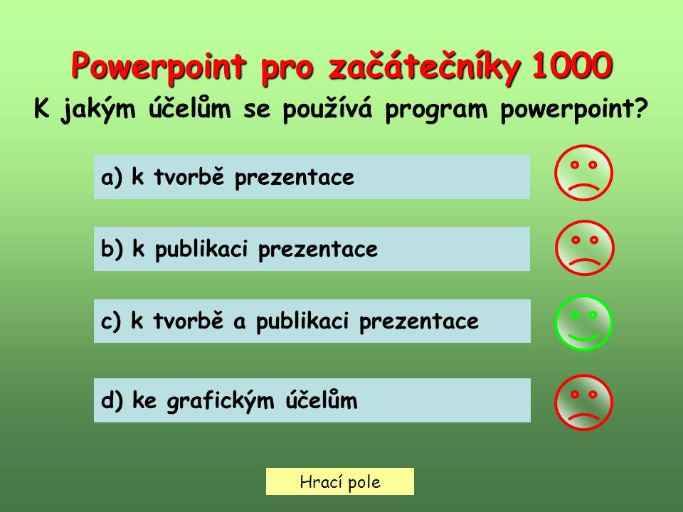 Hrací pole Powerpoint pro začátečníky 2000 Pro přecházení mezi snímky lze použít klávesnici.