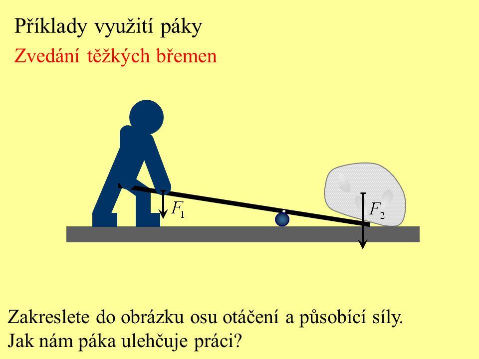 Příklady využití páky Zvedání těžkých břemen Zakreslete do obrázku osu otáčení a působící síly. Jak nám páka ulehčuje práci?