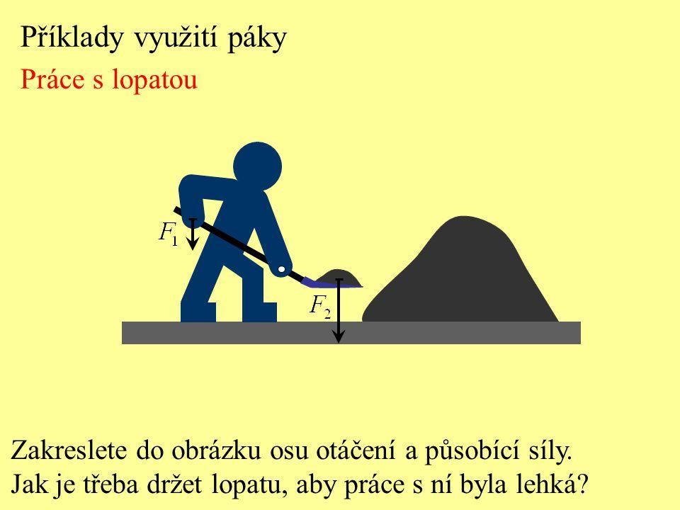 Příklady využití páky Práce s lopatou Zakreslete do obrázku osu otáčení a působící síly.