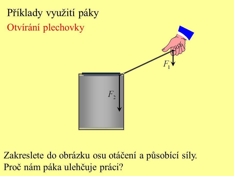 Příklady využití páky Otvírání plechovky Zakreslete do obrázku osu otáčení a působící síly. Proč nám páka ulehčuje práci?