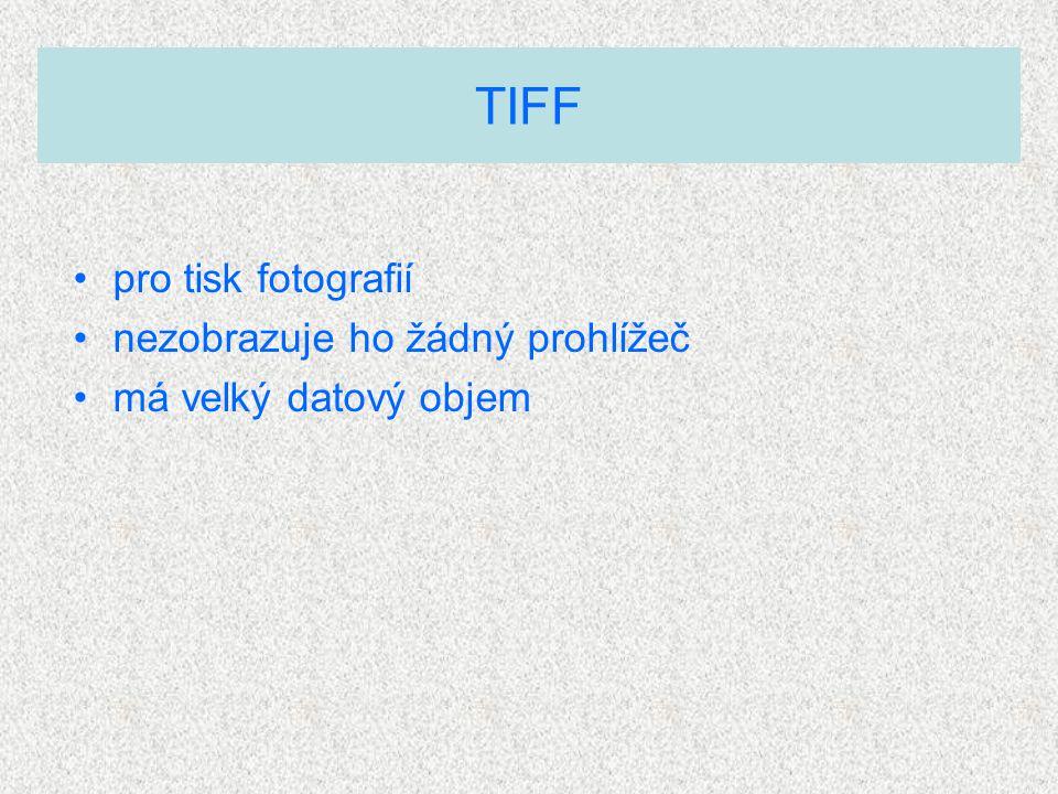 pro tisk fotografií nezobrazuje ho žádný prohlížeč má velký datový objem TIFF