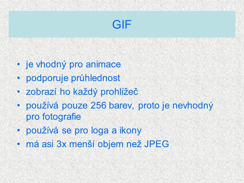 je vhodný pro animace podporuje průhlednost zobrazí ho každý prohlížeč používá pouze 256 barev, proto je nevhodný pro fotografie používá se pro loga a ikony má asi 3x menší objem než JPEG GIF