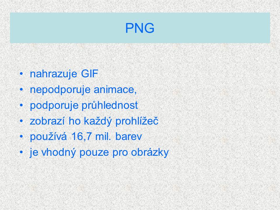 nahrazuje GIF nepodporuje animace, podporuje průhlednost zobrazí ho každý prohlížeč používá 16,7 mil.