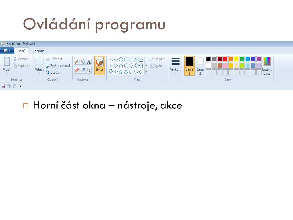 Ovládání programu  Horní část okna – nástroje, akce