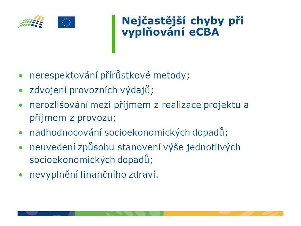 Nejčastější chyby při vyplňování eCBA nerespektování přírůstkové metody; zdvojení provozních výdajů; nerozlišování mezi příjmem z realizace projektu a