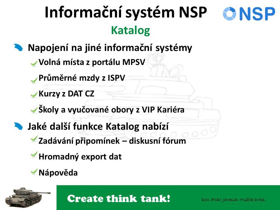Create think tank! Doc. PhDr. Jaroslav Mužík DrSc. Informační systém NSP Katalog Napojení na jiné informační systémy Volná místa z portálu MPSV Průměr