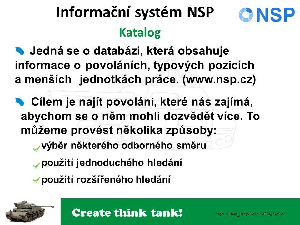 Create think tank! Doc. PhDr. Jaroslav Mužík DrSc. Informační systém NSP Katalog Jedná se o databázi, která obsahuje informace opovoláních, typových p