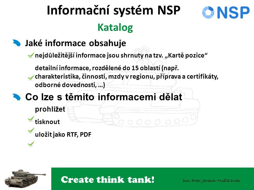 Create think tank! Doc. PhDr. Jaroslav Mužík DrSc. Informační systém NSP Katalog Jaké informace obsahuje nejdůležitější informace jsou shrnuty na tzv.