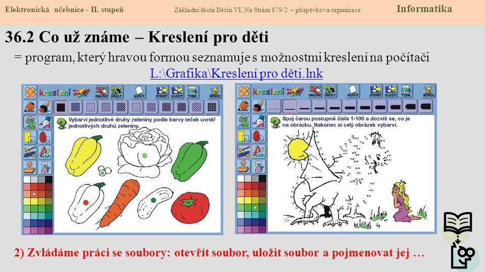 36.2 Co už známe – Kreslení pro děti Elektronická učebnice - II. stupeň Základní škola Děčín VI, Na Stráni 879/2 – příspěvková organizace Informatika
