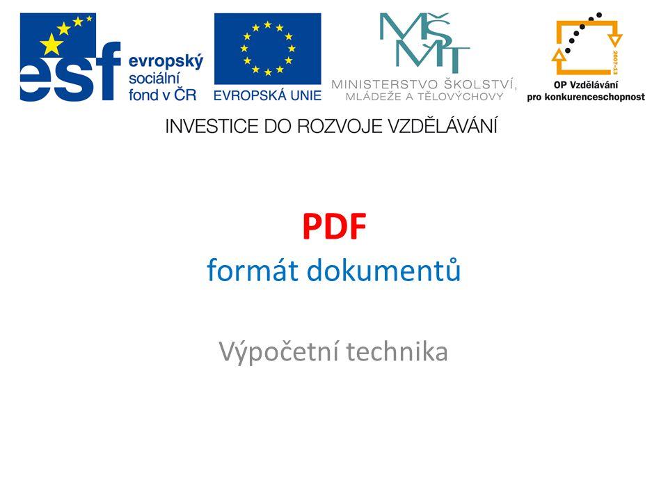 PDF formát dokumentů Výpočetní technika