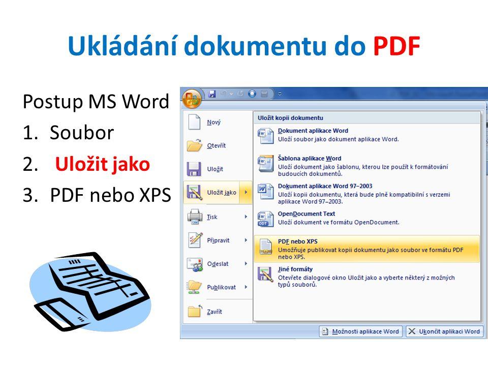 Ukládání dokumentu do PDF Postup MS Word 1.Soubor 2. Uložit jako 3.PDF nebo XPS