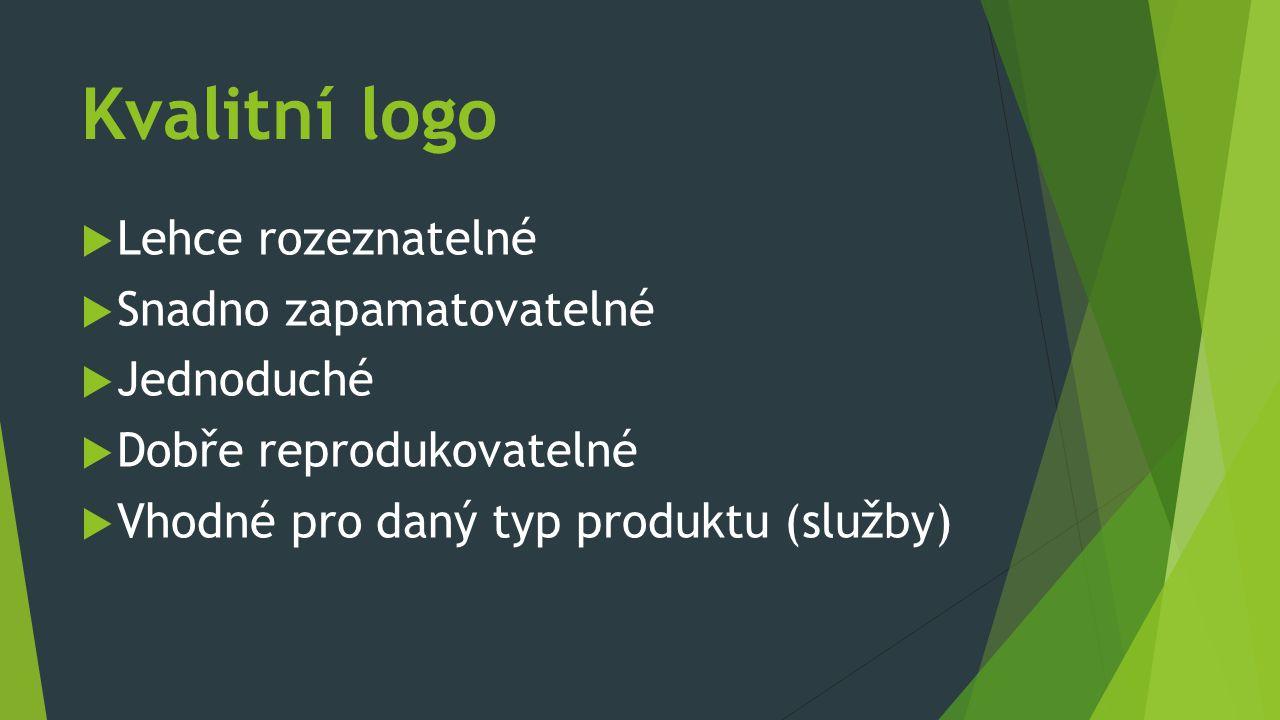 Kvalitní logo  Lehce rozeznatelné  Snadno zapamatovatelné  Jednoduché  Dobře reprodukovatelné  Vhodné pro daný typ produktu (služby)
