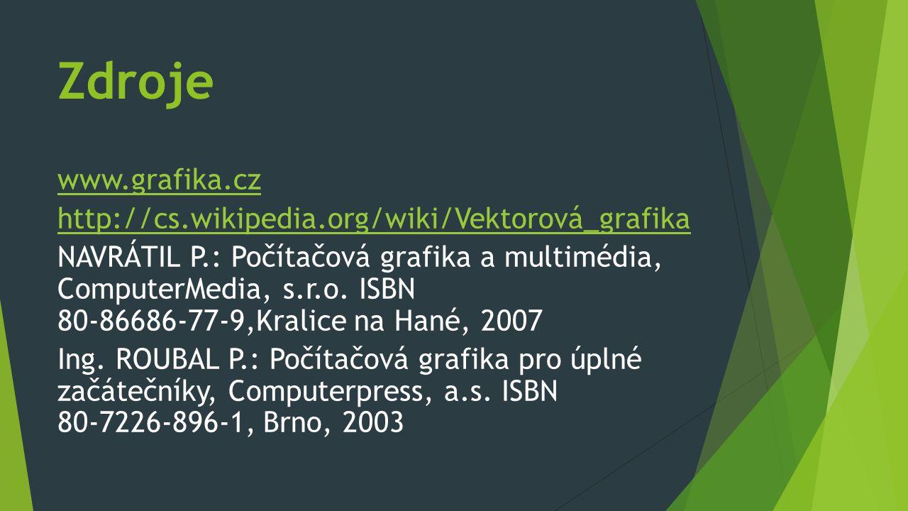 Zdroje www.grafika.cz http://cs.wikipedia.org/wiki/Vektorová_grafika NAVRÁTIL P.: Počítačová grafika a multimédia, ComputerMedia, s.r.o. ISBN 80-86686