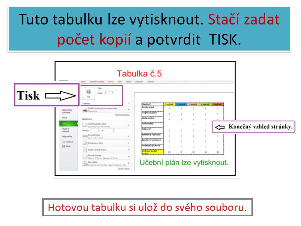 Tuto tabulku lze vytisknout. Stačí zadat počet kopií a potvrdit TISK.