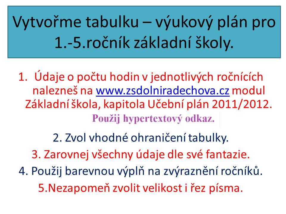 Vytvořme tabulku – výukový plán pro 1.-5.ročník základní školy. 1.Údaje o počtu hodin v jednotlivých ročnících nalezneš na www.zsdolniradechova.cz mod