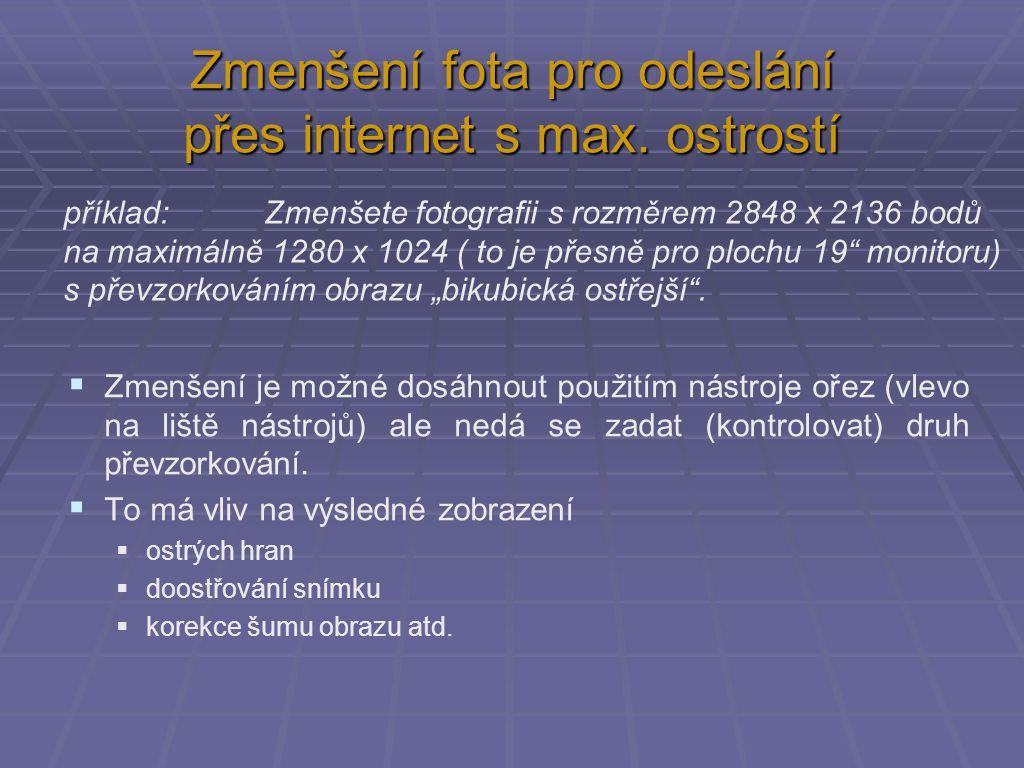 Zmenšení fota pro odeslání přes internet s max.