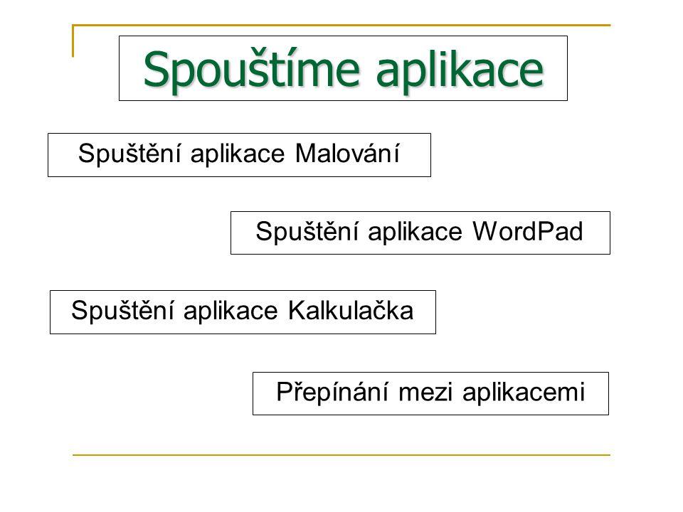 Spouštíme aplikace Spuštění aplikace Malování Spuštění aplikace WordPad Spuštění aplikace Kalkulačka Přepínání mezi aplikacemi