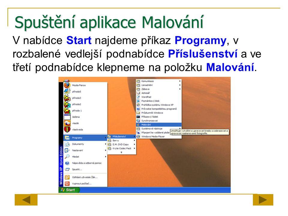 Spuštění aplikace Malování V nabídce Start najdeme příkaz Programy, v rozbalené vedlejší podnabídce Příslušenství a ve třetí podnabídce klepneme na položku Malování.