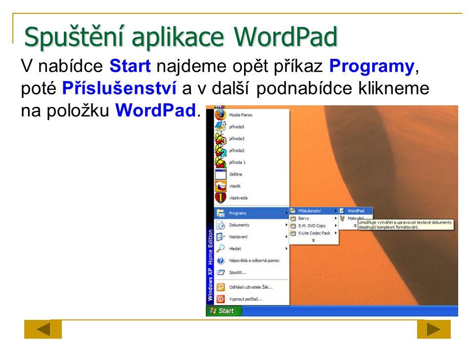Spuštění aplikace WordPad V nabídce Start najdeme opět příkaz Programy, poté Příslušenství a v další podnabídce klikneme na položku WordPad.