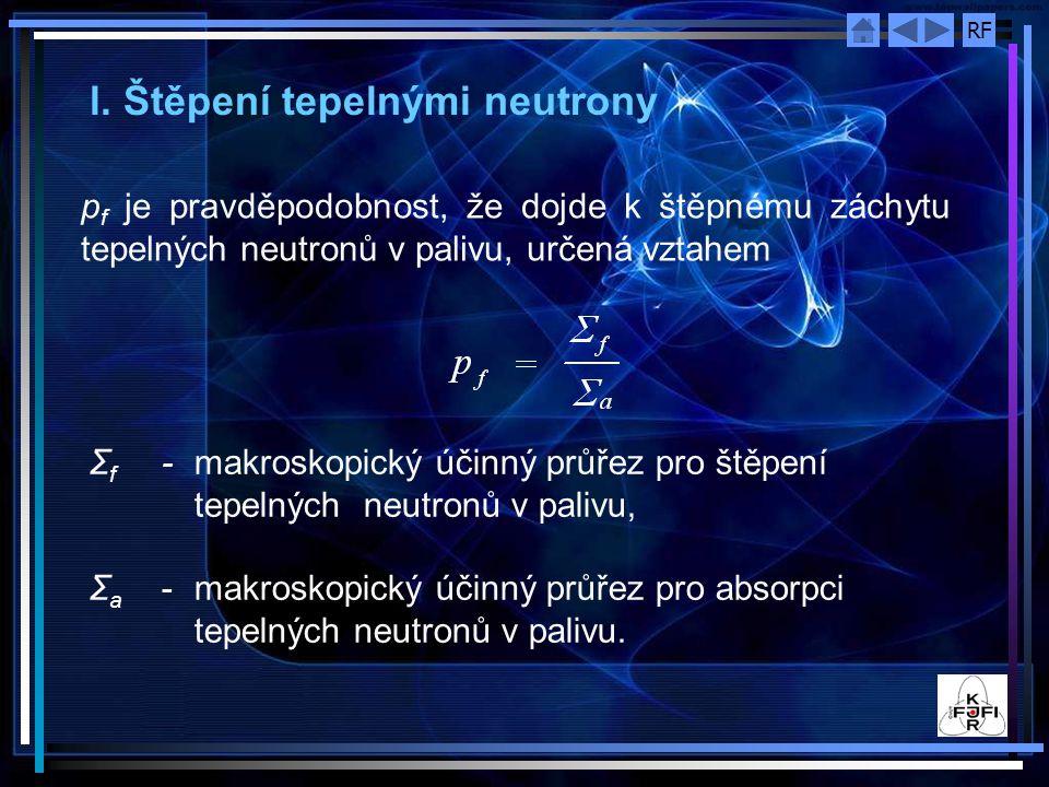 RF Regenerační faktor η Je střední počet rychlých neutronů uvolněný při štěpení zachycením jednoho tepelného neutronu ve štěpné látce.
