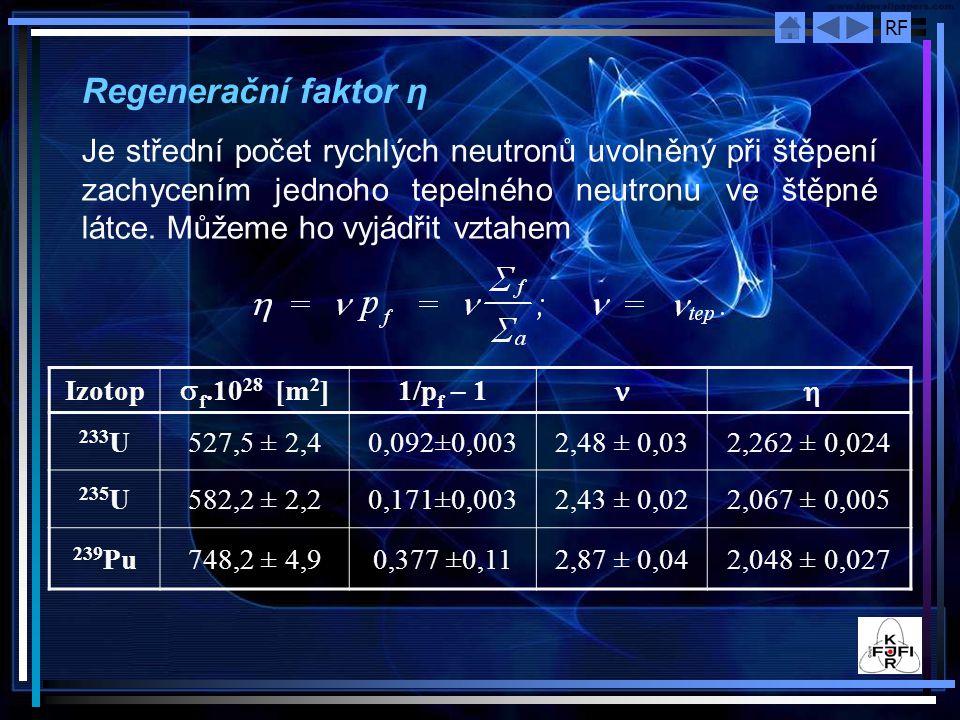 RF Regenerační faktor η Je střední počet rychlých neutronů uvolněný při štěpení zachycením jednoho tepelného neutronu ve štěpné látce. Můžeme ho vyjád
