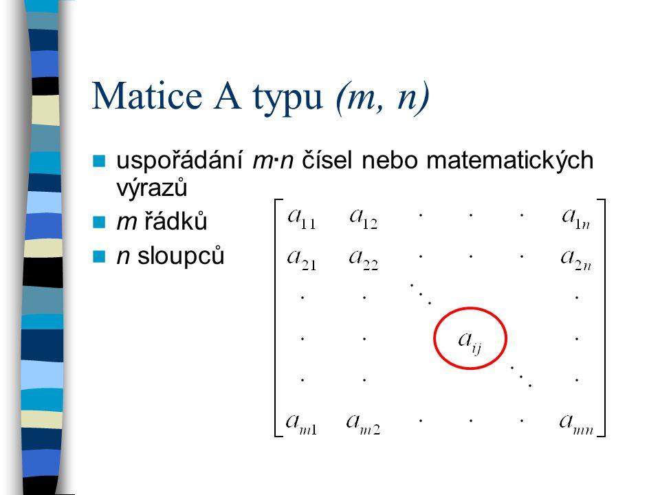 m = n … čtvercová matice n – tého řádu pásová symetrická matice … nenulové prvky soustředěny okolo hlavní diagonály a ij = a ji … symetrická matice jednotková matice E