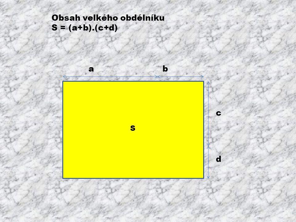 ab c d Obsah velkého obdélníku S = (a+b).(c+d)
