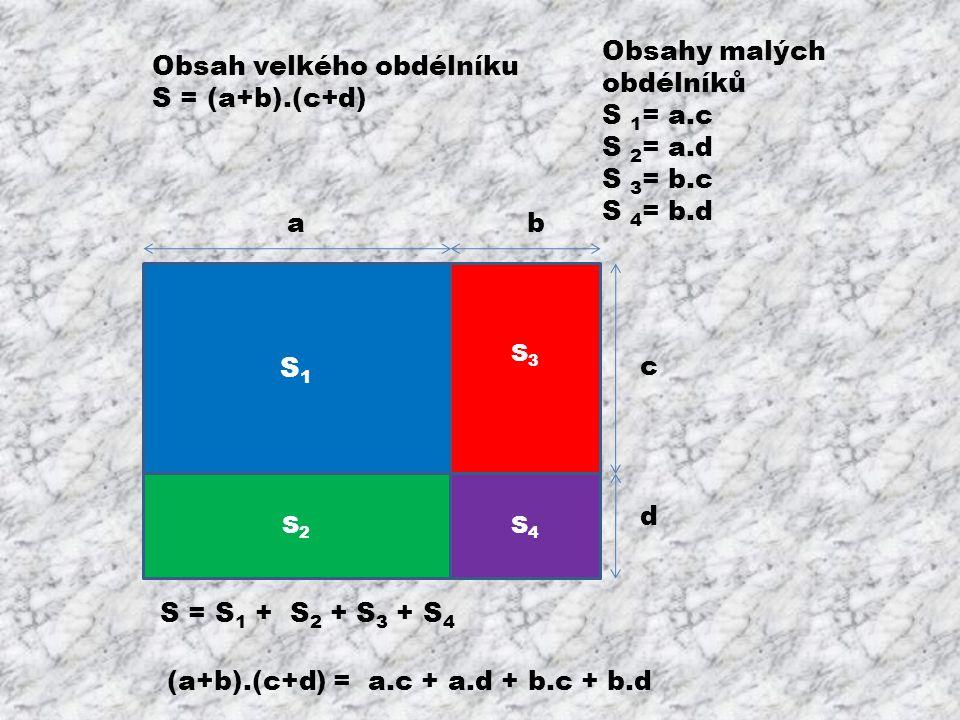S1S1 S3S3 S2S2 S4S4 ab c d Obsahy malých obdélníků S 1 = a.c S 2 = a.d S 3 = b.c S 4 = b.d Obsah velkého obdélníku S = (a+b).(c+d) S = S1 S1 + S2 S2 +