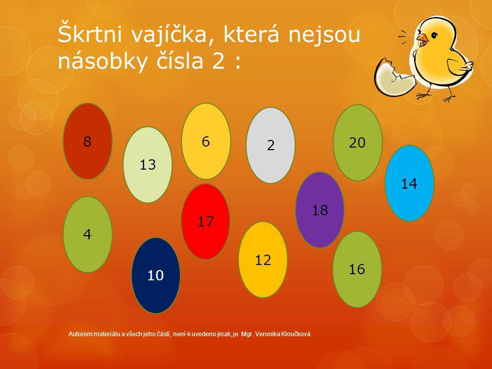 Škrtni vajíčka, která nejsou násobky čísla 2 : Autorem materiálu a všech jeho částí, není-li uvedeno jinak, je Mgr. Veronika Kloučková 8 13 6 2 20 14