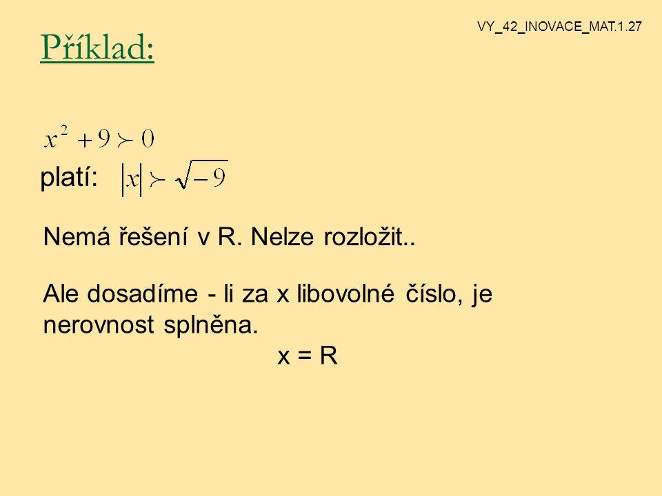 Úplná kvadratická nerovnice Úplnou KN se snažíme nejprve rozložit: Příklad: Nerovnici rozložíme na tvar 23 + - - + - + + VY_42_INOVACE_MAT.1.25