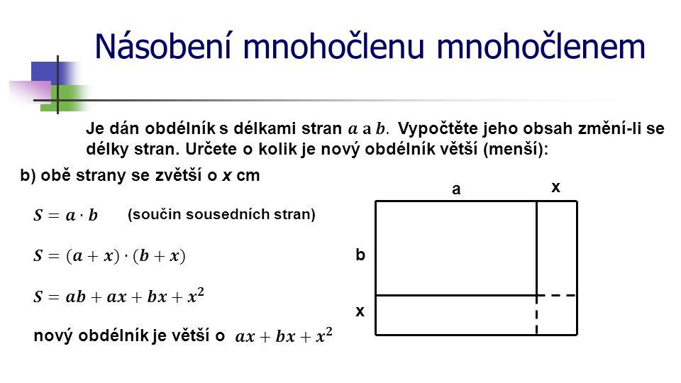 Násobení mnohočlenu mnohočlenem b) obě strany se zvětší o x cm a b x x (součin sousedních stran) nový obdélník je větší o