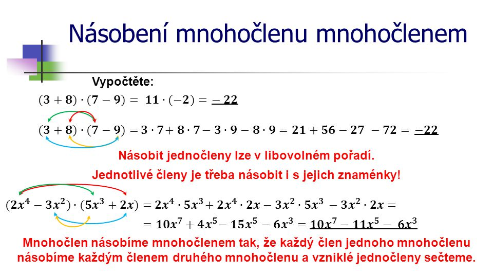 Násobení mnohočlenu mnohočlenem Vypočtěte: Mnohočlen násobíme mnohočlenem tak, že každý člen jednoho mnohočlenu násobíme každým členem druhého mnohočl