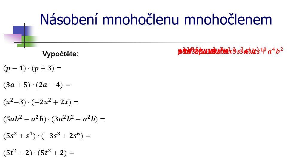 Násobení mnohočlenu mnohočlenem a) obě strany se zvětší o 3 cm a b 3 3 (součin sousedních stran) nový obdélník je větší o