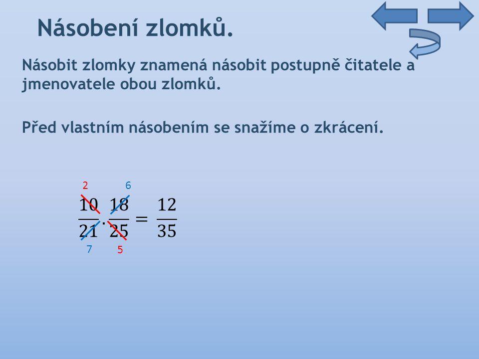Násobení lomených výrazů 4) Upravte lomené výrazy a určete podmínky