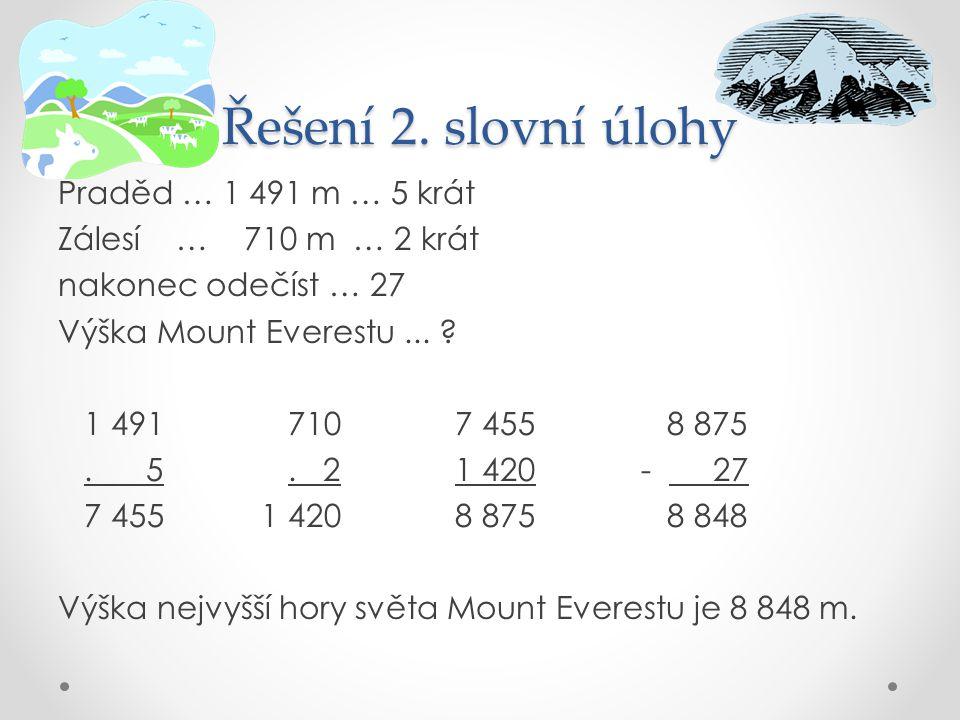 Řešení 2. slovní úlohy Praděd … 1 491 m … 5 krát Zálesí … 710 m … 2 krát nakonec odečíst … 27 Výška Mount Everestu... ? 1 491 710 7 455 8 875. 5. 2 1