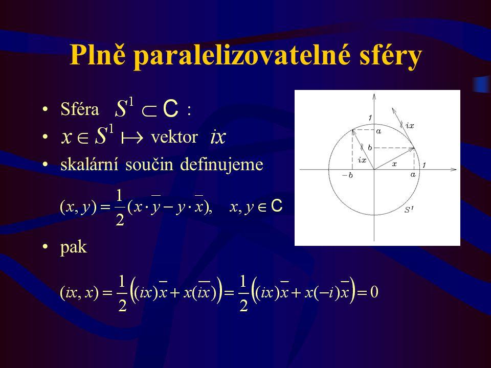 Plně paralelizovatelné sféry Sféra : vektor skalární součin definujeme pak