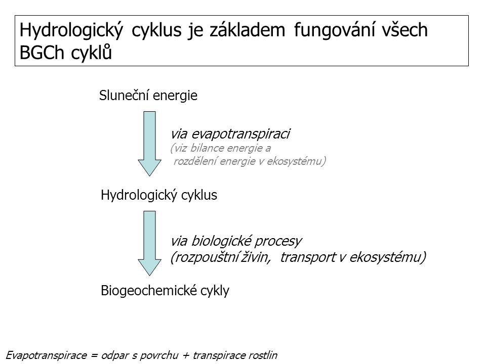 Hydrologický cyklus je základem fungování všech BGCh cyklů Evapotranspirace = odpar s povrchu + transpirace rostlin Sluneční energie Hydrologický cykl